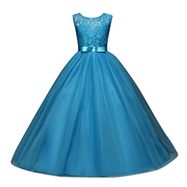 BESTOPPEN Girls Kids Lace Princess Party Dress Kids Cute Sleeveless Bridesmaid Swing Dresses Tutu Formal Pageant