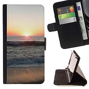For Sony Xperia Z3 Compact / Z3 Mini (Not Z3) Case , Sunset Beautiful Nature 66- la tarjeta de Crédito Slots PU Funda de cuero Monedero caso cubierta de piel