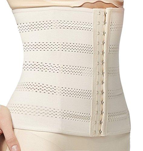 Everbellus Women's Breathable Elastic Corset Waist Trainer Cincher Belt Shapewear (Medium, Beige) (Best Type Of Waist Trainer)