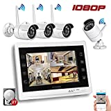 """YESKAMO 1080P Wireless Home Security Camera System with 12"""" HD LCD Monitor 4 Channel 2.0 Megapixel WiFi IP Cameras Auto Pair Network Video Recorder for Outdoor Weatherproof CCTV Kit Pre-installed 2TB Surveillance Hard Drive"""