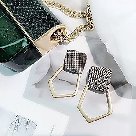 Plaid Fabric Squares Geometric Earrings Irregular Hollow Metal Box Shaped Earrings Earrings Women Fashion Girls Temperament Tide by Generic