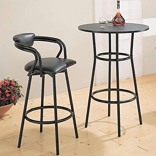 Retro Style Black Metal Finish Kitchen Bar Pub Table Furniture - Edge Round Single Pedestal Table