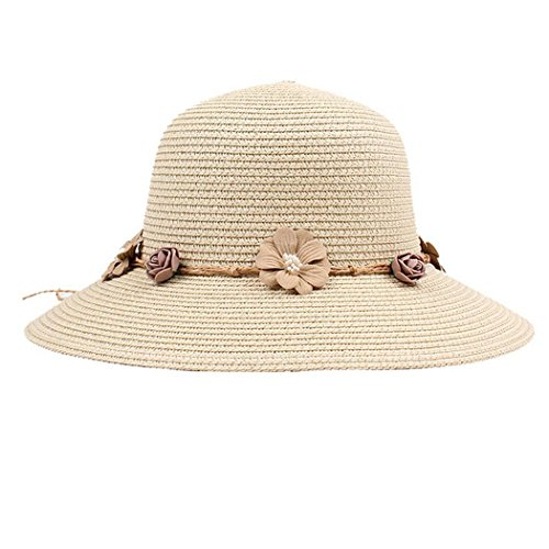 Corgy Women Fashion Flower Decor Wide Brim Round Straw Sunhat Beachwear Traval