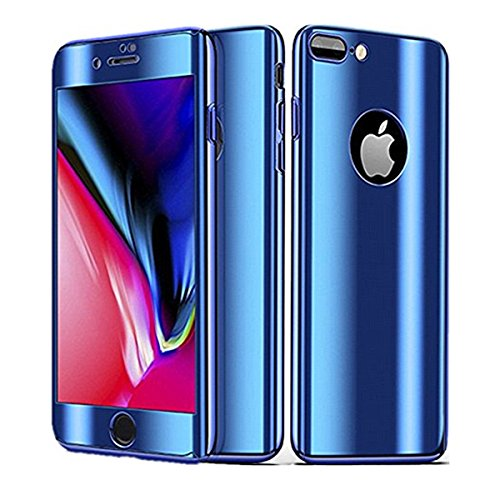 iPhone 8 Plus Case 3 in 1 PC Thin Hard Plating 360 Shockproof Protective Cover for iPhone 7 Plus (iPhone 7plus / iPhone 8 Plus, Blue)