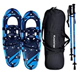 FLASHTEK 21/25/30 Inches Light Weight Snowshoes for Women Men Youth Kids, Aluminum Terrain Snow Shoes with Trekking Poles and Carrying Tote Bag