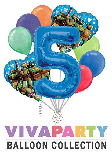 Ninja Turtles Heart Balloon Bouquet 9 pc, 5th Birthday, Blue Number 5 Jumbo Balloon | Viva Party Balloon Collection]()