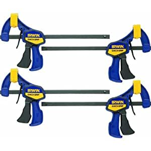 """IRWIN QUICK-GRIP One-Handed Mini Bar Clamp Set, 6"""", 4 Pack, 5464"""
