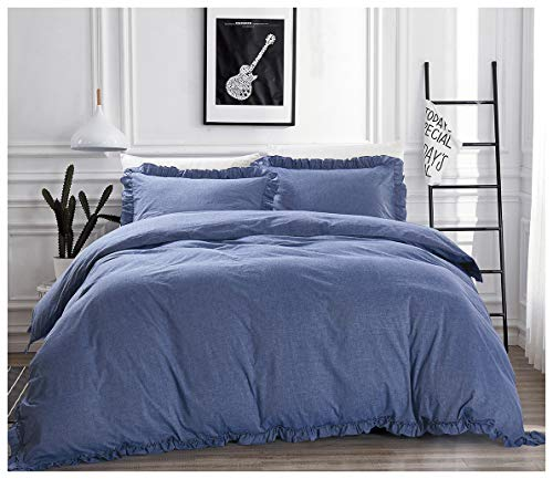 Mivedia Collection Ruffled Duvet Cover Set with Pillow Shams | 100% Cotton Farmhouse & Bohemian Style Bedding | Lightweight & Soft (Full/Queen, Blue) (Blue Ruffle Bedding)