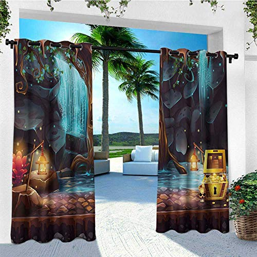 leinuoyi Fantasy, Outdoor Curtain Ends, Cartoon Style Cave Landscape with a Big Tree Treasure Chest Lamps and Waterfall, for Balcony W96 x L108 Inch Multicolor