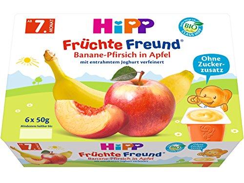 HiPP Früchte-Freund Banane-Pfirsich in Apfel, 4er Pack (6 x 50 g) 4580-01