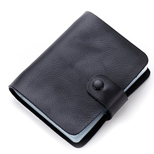 Leather Credit Card Organizer - Aladin Leather Business Card Organizer Book Credit Card Holder with 60 Plastic Card Slots Black