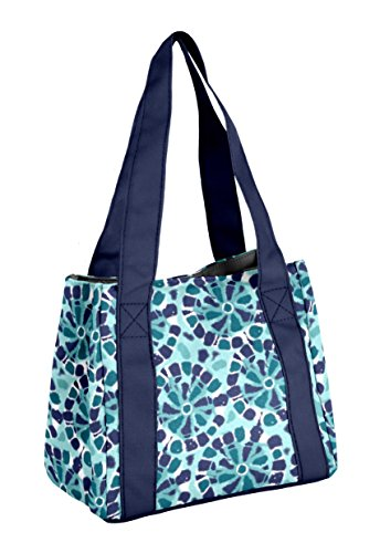 (Fit & Fresh Women's Venice Insulated Lunch Bag, Stylish Adult Lunch Bag, Navy Tie Dye Medallion)