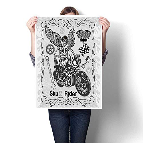 Wing Tool Pallet (Antufour Motorcycle Canvas Print Wall Art Evil Hipster Dead Skull Skeleton Motorbike Rider Wings Drive to Hell Humor Image Canvas Prints Wall Art 32