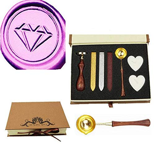 MNYR Vintage Diamond Sealing Wax Seal Stamp Wood Handle Melting Spoon Wax Stick Candle Gift Book Box kit Wedding Invitation Embellishment Holiday Card Christmas Gift Wrap Package Seal Stamp Set ()