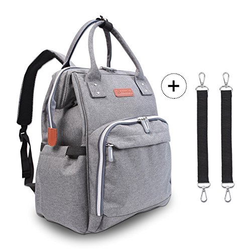 Diaper Bag Backpack – Polaris Multi-Function Maternity Nappy Bags For Baby Care | Travel Backpack With Large Capacity, Stroller Straps, Waterproof Cover – Durable and Stylish (Grey)