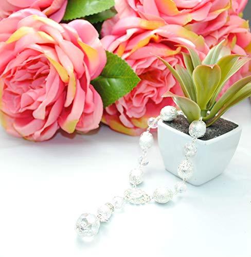 12 Pcs Set of Angel Wing Pearl Rosary Bracelet - Baptism Favors Recuerdos de Bautizo Finger Rosaries Silver Plated