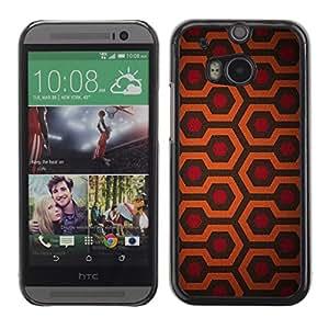 FlareStar Colour Printing Hexagon Pattern Red Orange Pattern cáscara Funda Case Caso de plástico para HTC One M8