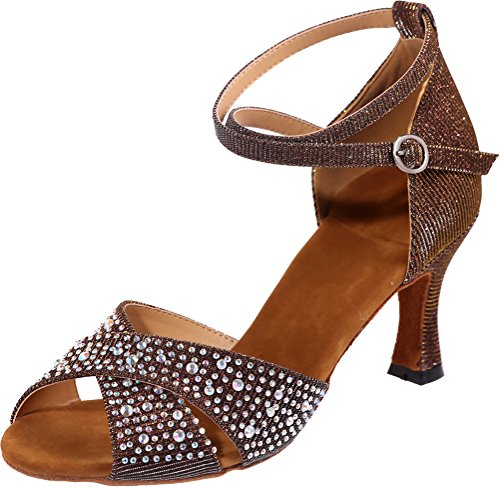 Brown Ankle Sole 3IN Soft Dance Find Womens Straps PU Professional Nice Glitter Shoes Peep Sudue Rhinestone Toe qa1Tgw