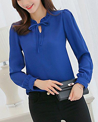 Saphir Fit Business Slim Blouse Chemisier Femme Longue Shirt Bleu Tops Manches Loisirs wgxvHa