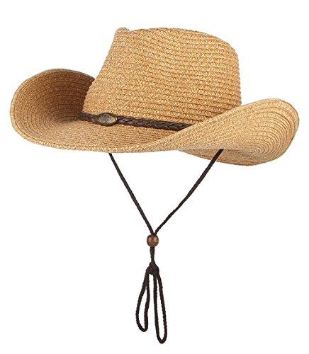 (Men Women Crushable Cowboy Hat Summer Beach Straw Sun Hats with Chin Strap Camel)
