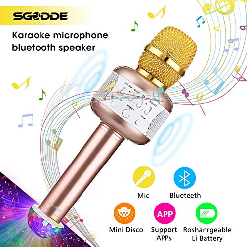 YSINOBEAR Karaoke Microphone with Disco Lights, Wireless Bluetooth Microphones Speaker, Singing & Recording Home Party KTV Dynamic Mic Player for Kids, iOS and Android Smart Phones Sound Microphone