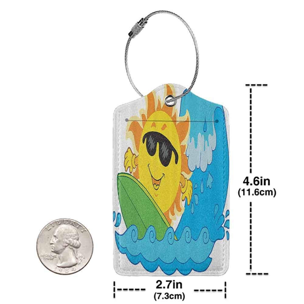 Multi-patterned luggage tag Summer Holidays Themed Surfing Sun in the Ocean Sea Relax Happiness Illustration Double-sided printing Yellow Blue Green W2.7 x L4.6