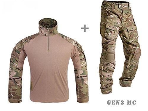 Men Army Military Equipment Airsoft Paintball Tactical Clothes Combat Gen 3 BDU Uniform Shirt Pants Knee Pad Multicam (XXL)