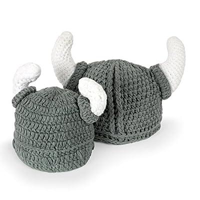 YPS Cute Bull Horn Beanie Cap Handmade Knitted Crochet Viking Beanie