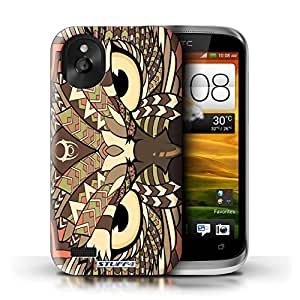 KOBALT? Protective Hard Back Phone Case / Cover for HTC Desire X | Owl-Sepia Design | Aztec Animal Design Collection
