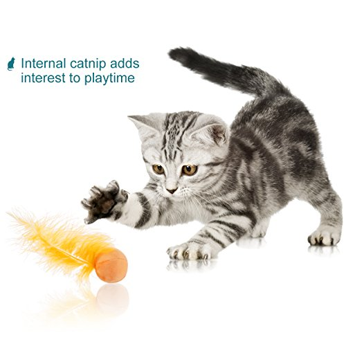 UEETEK Cat Feather Ball, Catnip Ball Interactive Toys with Bell for Kitten, Pack of 6 3