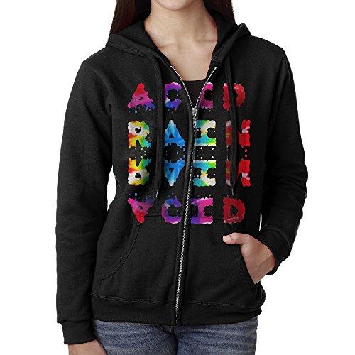 (KOBT Women's Chance The Rapper-Acid Rap Zip-Up Sweatshirt Jackets Black Size L)