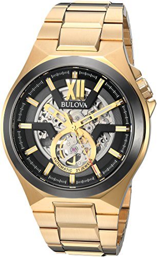 Bulova-Mens-Automatic-Stainless-Steel-Casual-Watch-ColorGold-Toned-Model-98A178