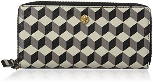 Anne Klein Slim Zip Around Small Wallet, Grey/Multi, One Size