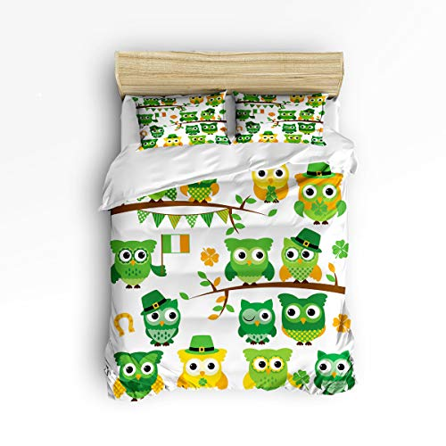 GreaBen King Size Twill Plush Duvet Cover Set Kids Bedding Sets for Girls Boys,Cute Owl Green Leaf Happy St.Patrick's Day Bed Set,Include 1 Comforter Cover with 2 Pillow Cases