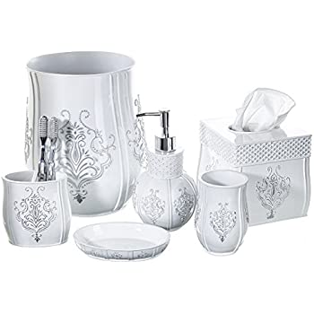 Amazon.com: Creative Scents Vintage White Bathroom Accessories Set on white kitchen sets, white furniture sets, bath accessories collections sets, white bakeware sets, white comforters sets, white luggage sets, white bath accessories, white cookware sets, white cutlery sets, white bedroom sets, white curtains sets, white sheets sets, shower accessories sets,