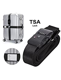 TSA Luggage Strap, Dolida Travel Luggage Strap with 3 Dial TSA Approved Lock, Adjustable Suitcase Belt Packing Belt Travel Tags for Airport Security and Baggage Claim Identification (black)
