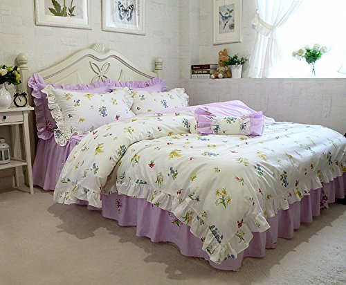 韓式清新風 sweet 花柄寝具カバーセット 紫ベッドスカート ホワイト 花柄掛け布団カバー 枕カバー 選べる3種 B0776V77KH クイーン|花柄2 花柄2 クイーン