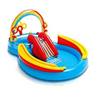 "Centro de juego inflable con anillo de arco iris Intex, 117 ""X 76"" X 53 "", para mayores de 2 años"