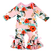 Slowera Baby Girls Flower Romper Long Sleeve Ruffles Leisure Wear (Pink,2XS:6 Months)