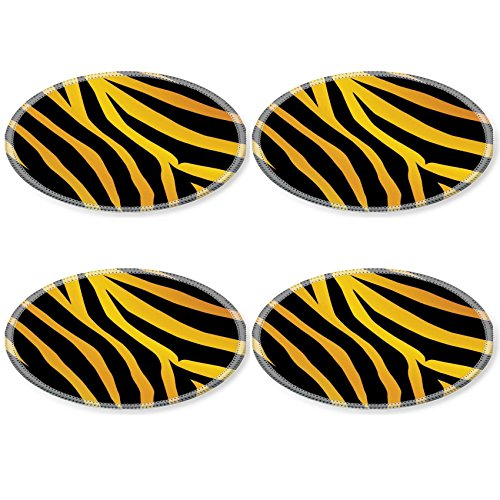 Coasters Vector black and orange stripped tiger design Image 2423132 by MSD Round Coaster 4 Piece Set Cup Mat Mug Can Water Bottle Drink Customized Stain Resistance Collector Kit Kitchen Table Top Desk