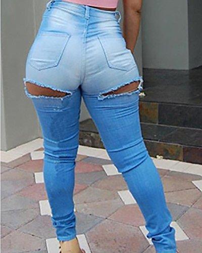 Taille Skinny Est Haute Dchir Jeans Long Femmes Trous Dcontract De Bleu Clair nIpqqR