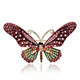 iDMSON Clear Rhinestone Butterfly Brooch Pin - Colorful Crystal Gold Plated Animal Enamel Lapel Pin For Women (Style 1)