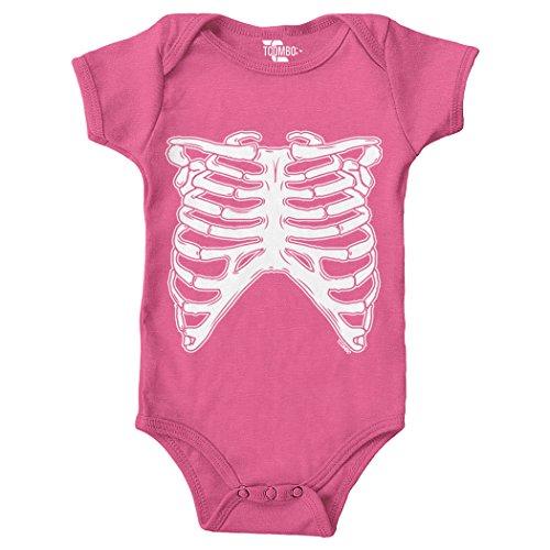 Tcombo White Skeleton Ribcage - Halloween Bodysuit (Pink, Newborn)