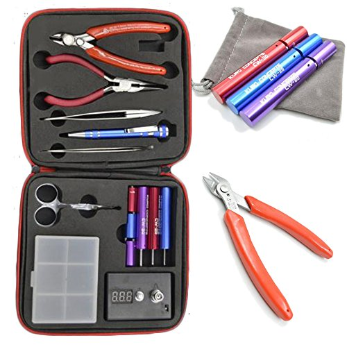 Homeowner's Tool Sets Coil Jig Kits DIY Tool Kit, ohm Meter, Diagonal Pliers, Scissors, Screwdriver, Ceramic/elbow Tweezer, Wire Case
