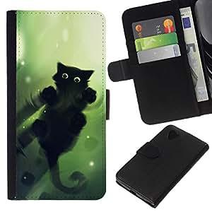 All Phone Most Case / Oferta Especial Cáscara Funda de cuero Monedero Cubierta de proteccion Caso / Wallet Case for LG Nexus 5 D820 D821 // Green Cat