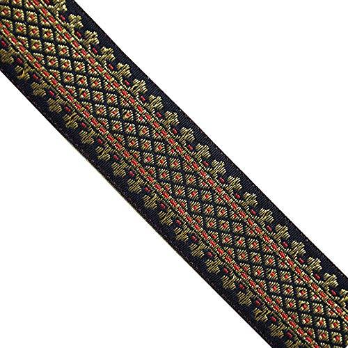 Jacquard Metallic Gold/Red, Black, JL 317, Width: 1-5/8