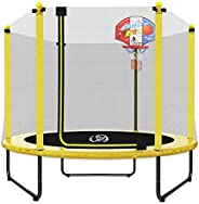 "LANGXUN 60"" Trampoline for Kids - 5ft Outdoor & Indoor Mini Toddler Trampoline with Enclosure, Basket"