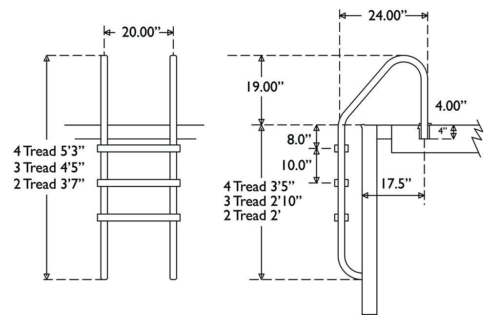 Tiamat 80103 Stainless Steel 3 Tread Swimming Pool Ladder, 24'' by Tiamat