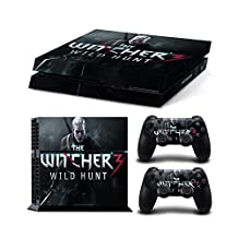 Sony PlayStation 4 Skin Decal Sticker Set - The Witcher 3: Wild Hunt (1 Console Sticker + 2 Controller Stickers, Style 2)