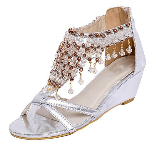 Sandalias Sandalias Elegante NiSeng Brillante Sandalias Cuentas Sandalias Mujer Bohemia Moda Cuñas Plateado Colgante Con 7xxH0C8wq